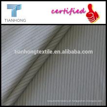 fio de tarja preta de fundo branco tingido de tecido de algodão popeline liso weave liso peso leve para vestuário de camisa