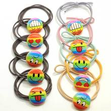 New Products Rainbow Emoji Print Button Ponytail Holders Japanese Traditional Prints Elastic Hair Tie Rope Ring Beauty Headdress