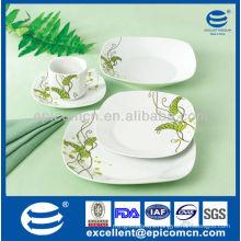 30pcs square super white germany dinner set porcelain serve for 6
