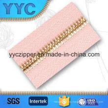 Doble punto de dientes de metal de largo de cremallera de oro para prendas de vestir textiles