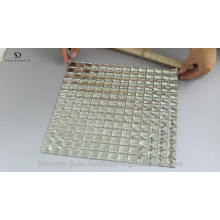 Crystal Silver Square Glass Mirror Diamond Mosaic Tile