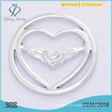 Fahion 22mm design prata anjo jóias ala fornece flutuante placas lockets