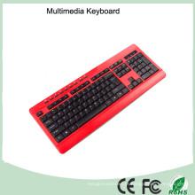 113 Keys Azerty Ultra Slim Wired Multimedia Francês Layout Mini Keyboard (KB-1802M)