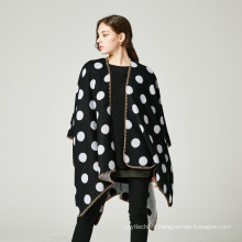Hot selling fashion trend dot pattern jacquard weave women poncho cape shawl