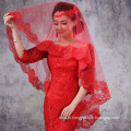 Alibaba Vermelho Branco Tulle Lace Wedding Veils Em Guangzhou 2017