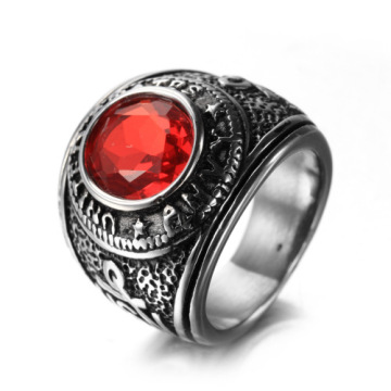 Titanium Steel Vintage Style Men Ruby Finger Ring