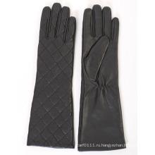 Леди мода проверено овчины кожа длинное платье теплые перчатки (YKY5172)