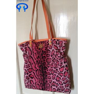 Rosa Leopard Print Canvas Shopper Tasche