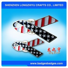 Imprinting Color Silver Flag Badges