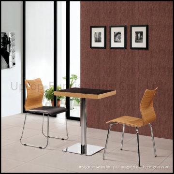 Conjunto de mesa e cadeira de madeira compensada de cafeteria de fast food (SP-CT507)