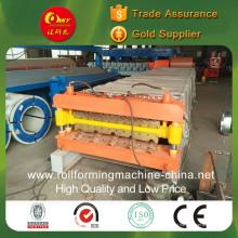 Máquina formadora de rolos de telhas de aço coloridas de camada dupla para painéis corrugados e cauda de cauda