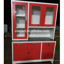 MDF top metal corpo fácil de aprender armários de cozinha de metal vermelho