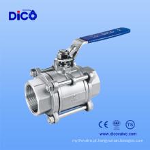 Válvula de bola 3PC de aço inoxidável com boa quantidade