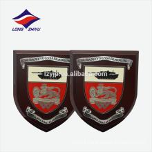 Hard enamel shield shape logo hooking wooden award plaque