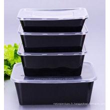 Récipient rectangulaire de nourriture claire de micro-onde jetable de la couleur noire 500ml micro avec le couvercle