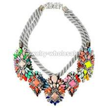 Big Colorful Layered Synthetic Stone Pendants Necklace