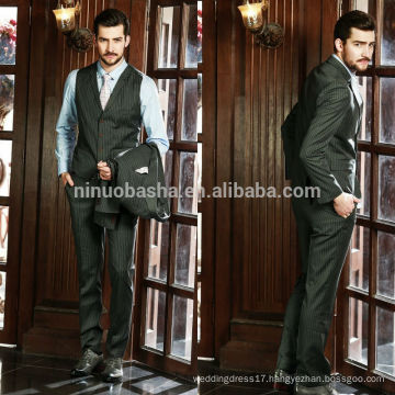 Stripe Men's 2014 Fashion Design Suits Men Coat Pant Designs Business Suits Three-Piece Suits Tuxedo For Wedding NB0567