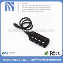 Super alta velocidade USB 3.0 4ports hub divisor 4 portas com switch para pc laptop