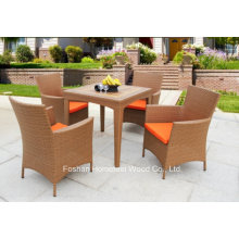 5 Pieces Outdoor Durable Garden Rattan Teak Table Set