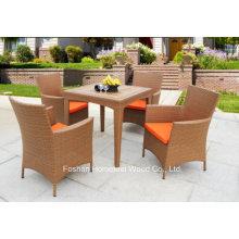 5 Pieces Outdoor Durable Garden Rattan Teak Table Set