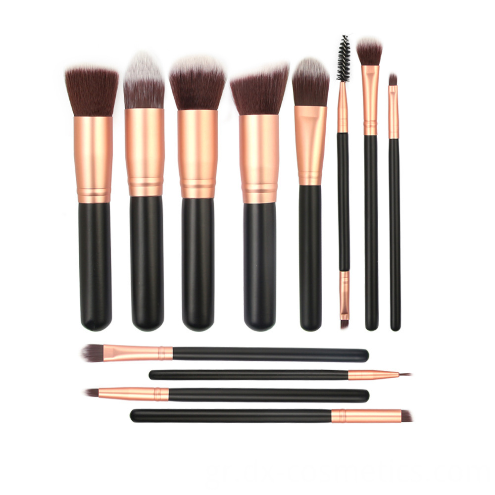 12 Pieces Goat Hair Wood Handle Makeup Brushes Sets 6