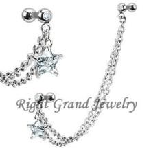 Clear Star Zircon Body Jewelry Ear Chain Piercings