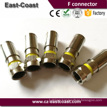 Coaxial cable Waterproof RG6 Compression F plug All Brass