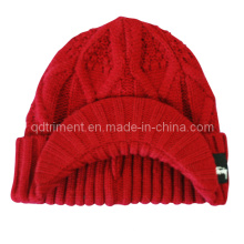 Acrylic Roll up Crochet Knitted Brimmed Cabbie Beanie Hat (TRK039)
