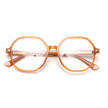 Transparent Glasses Frame Ins Net Red  TR90 Polygonal Myopia Glasses Fashion Big Frame Europe And America