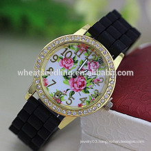 Wholesale diamante dial flower lady silicone rubber watch strap