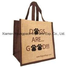 Promocional Impresión personalizada de dos tonos reutilizables yute bolsa de compras