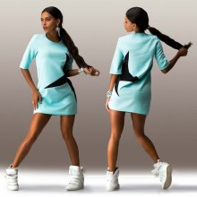 OEM Sexy 100% Polyester Demi-Manche Imprimer Shiny Star Short Dress