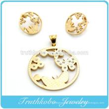 2014 más popular de alta calidad de oro de acero inoxidable corte por láser de oro redondo animal mariposa forma pendiente y colgante conjunto de joyas