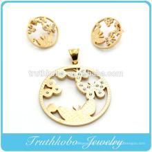 2014 le plus populaire de haute qualité en acier inoxydable d'or découpé au laser en forme de boucle d'oreille papillon animal rond et pendentif bijoux ensemble