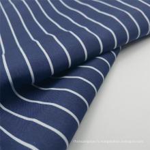 Tissus de mode pongé en polyester imprimé à rayures bleu marine