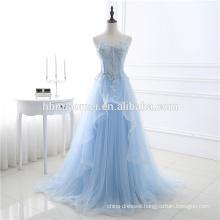 High Quality Pure Color Light Blue Chiffon Royal Backless Bridesmaid Wedding Party Dress Long Evening Dress 2017