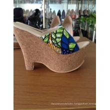 African Printed Fabrics Wedge Heel Women Sandals (Hs06-03)