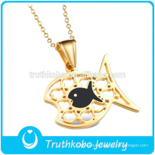 TKB-JP0169 Gorgeous gold kids jewelry stainless steel fish shaped Pendant