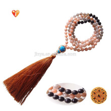 Mode 108 Yoga Moonstone Sunstone Mala Perles Tassel Collier