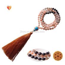 Fashion 108 Yoga Moonstone Sunstone Mala Beads Tassel Necklace