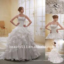 Astergarden Fashion Beading Layers Organza Trail robe de mariée nuptiale GownAS009
