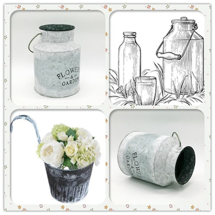 Retro Galvanized Flower Plant Pot Milk Pot