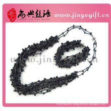 Black Colors Crystal Beaded Waxed String Necklace