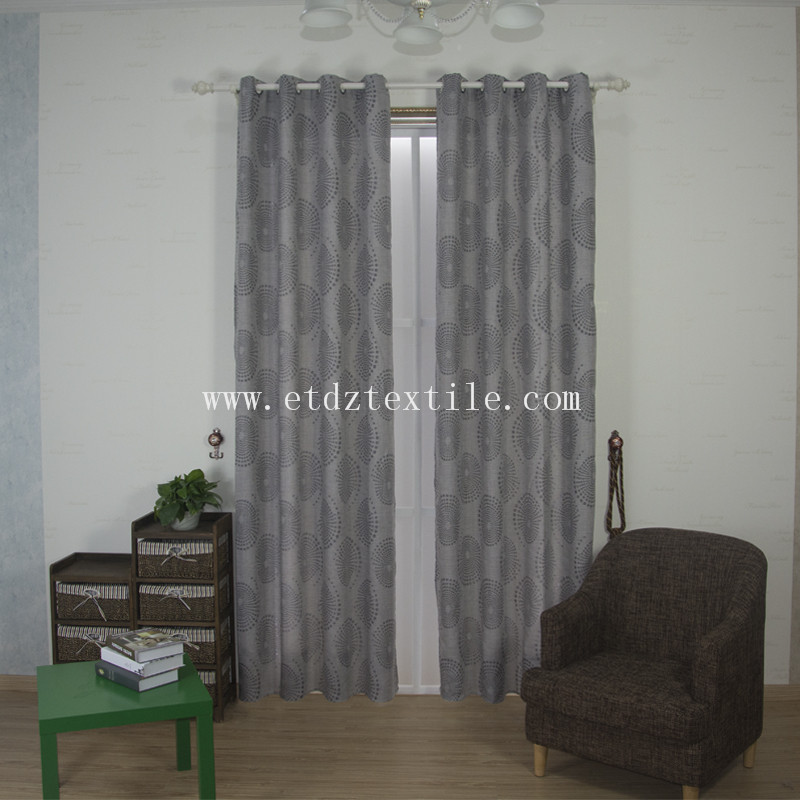 6015 Grey Color 100% Polyester Linen Like Ready Made Curtain