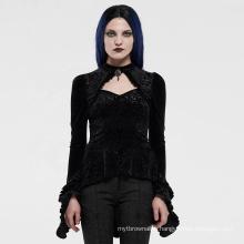 PUNK RAVE girls sexy Gothic series women long sleeve knitted bodycon velvet brocade wholesale black T-shirt