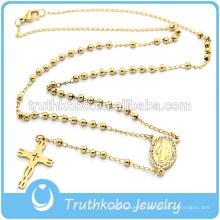 3MM Or En Acier Inoxydable Perles Chapelet Collier Cristal Sur Le Côté Médaille Et Blanking Croix Pendentif Bijoux Collier