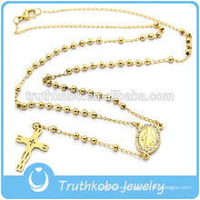 3MM Gold Stainless Steel Beads Rosary Necklace Crystal Sideways Medal And Blanking Cross Pendant Jewelry Necklace