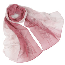 Latest design Two tone color emboidery fashion silk scarf with Sequins