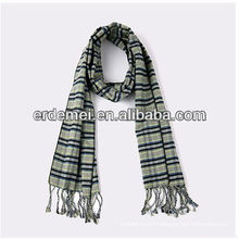 Men plain woven checked wool scarf