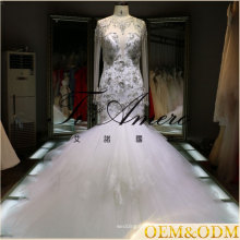 2017 Ruffle organza long lace sleeve open back mermaid shape wedding gown for sexy woman